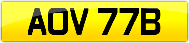 Plate image for registration plate AOV77B