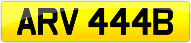 Plate image for registration plate ARV444B