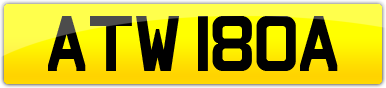 Plate image for registration plate ATW180A