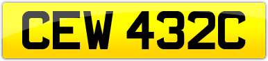 Plate image for registration plate CEW432C