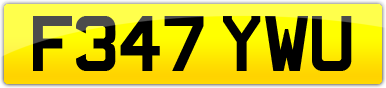 Plate image for registration plate F347YWU