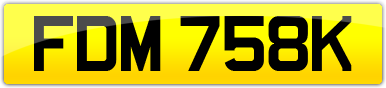 Plate image for registration plate FDM758K