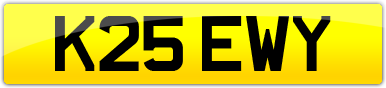 Plate image for registration plate K25EWY