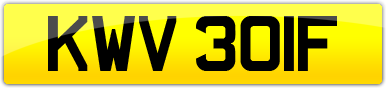 Plate image for registration plate KWV301F