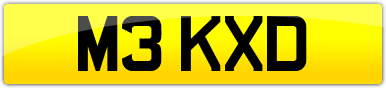 Plate image for registration plate M3KXD