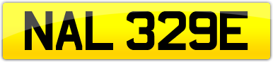 Plate image for registration plate NAL329E