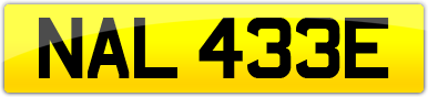Plate image for registration plate NAL433E