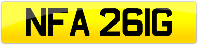 Plate image for registration plate NFA261G