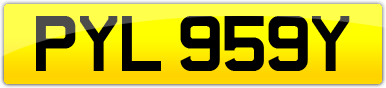 Plate image for registration plate PYL959Y