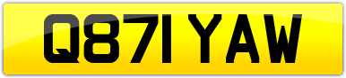 Plate image for registration plate Q871YAW