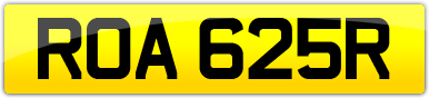 Plate image for registration plate ROA625R