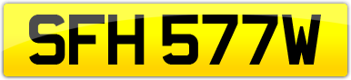 Plate image for registration plate SFH577W