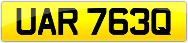 Plate image for registration plate UAR763Q