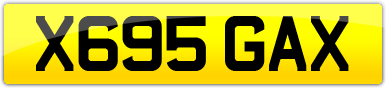 Plate image for registration plate X695GAX