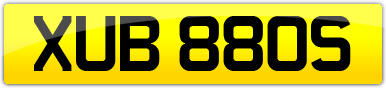 Plate image for registration plate XUB880S