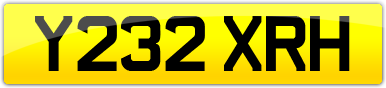 Plate image for registration plate Y232XRH