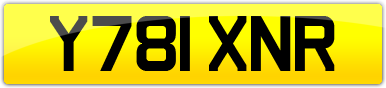 Plate image for registration plate Y781XNR